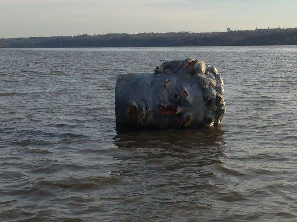 This handout photo provided by Marist College shows the giant head made of Styrofoam and fiberglass found floating in the Hudson River in Poughkeepsie, N.Y.