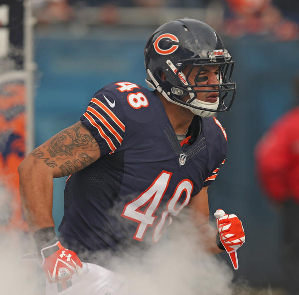 Evan Rodriguez of the Chicago Bears before a game in December.