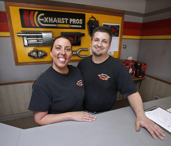Tami and Chris Feiock, owners of Exhaust Pros, of Aberdeen. photo by john davis taken 4/24/2013
