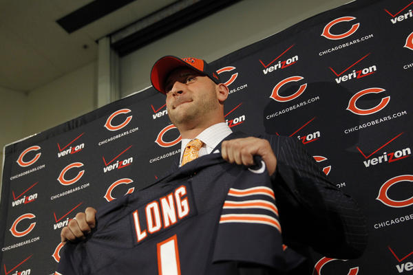 Kyle Long meets the media Friday at Halas Hall.