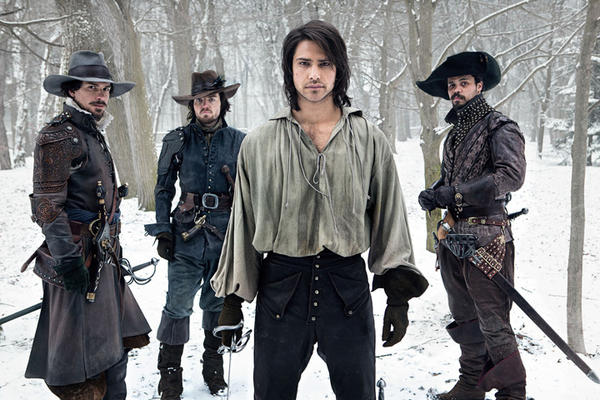 "Santiago Cabrera (Aramis, from left), Tom Burke (Athos), Luke Pasqualino (D'Artagnan) and Howard Charles (Porthos) star in ""The Musketeers."""