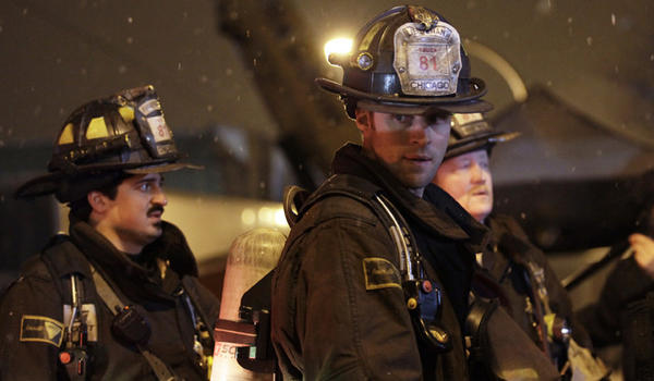 """Chicago Fire"" stars Chicago native Yuri Sardarov, Jesse Spencer and Chicago actor Christian Stolte."