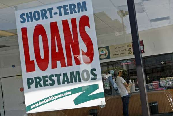 A payday lending shop in Van Nuys advertises short-term loans.