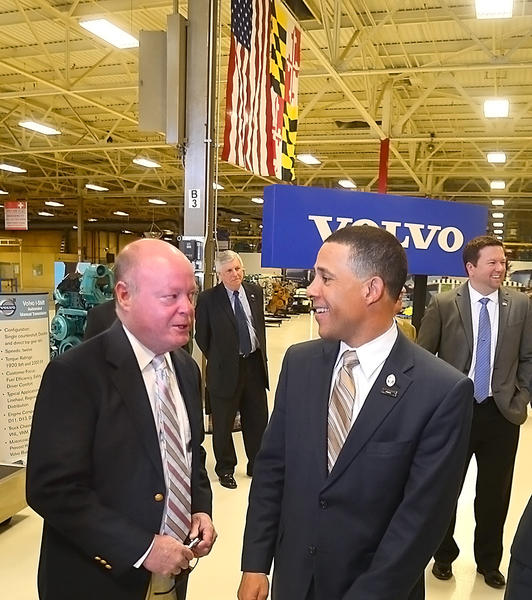 Maryland Lt. Gov. Anthony G. Brown, right, and Delegate John Donoghue talk before taking a tour of the Volvo Powertrain facility in Hagerstown Friday.