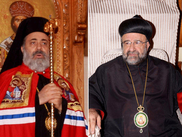 Muslim clerics in Syria are appealing for the release of kidnapped bishops Paul Yazigi, left, and Yohanna Ibrahim, seen in a file photo.