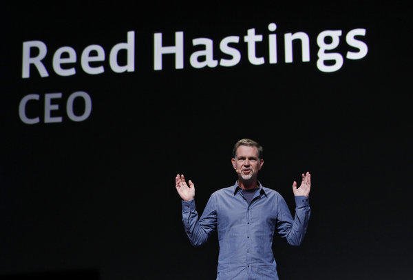 Netflix CEO Reed Hastings, pictured at his presentation at the Facebook f/8 conference in San Francisco in 2011, earned $5.5 million last year.