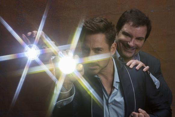 "Robert Downey Jr., star of ""Iron Man 3,"" and its director, Shane Black, at the Four Seasons Hotel."