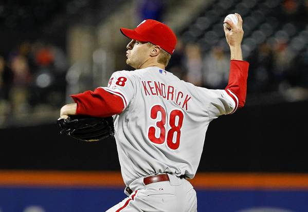 Kyle Kendrick #38 of the Philadelphia Phillies pitches in the ninth inning against the New York Mets at Citi Field on April 25, 2013 in the Flushing neighborhood of the Queens borough of New York City.