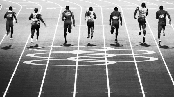 The final of the men's 100-meter competition at the London Olympic Games.