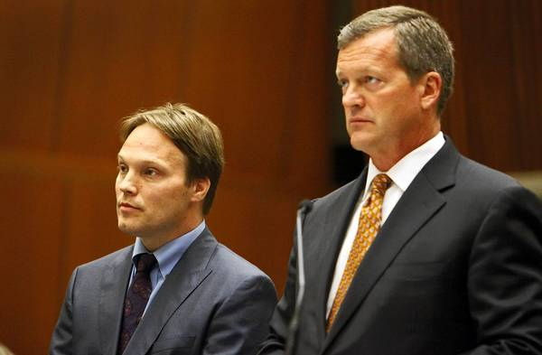 "UCLA chemistry professor Patrick Harran, left, shown with defense attorney Thomas O'Brien in 2012, has been ordered to stand trial on felony charges stemming from a laboratory fire that killed staff research assistant Sheharbano ""Sheri"" Sangji more than four years ago."