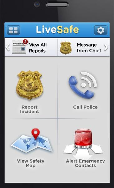 A screen grab of the interface for the LiveSafe app.