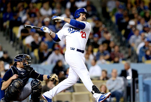 Dodgers first baseman Adrian Gonzalez hits an RBI double in the fifth inning against the Milwaukee Brewers.