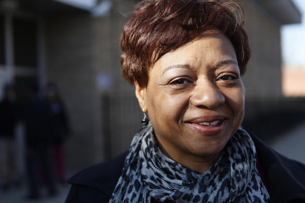 Portrait of Patricia Van Pelt Watkins, who is running for Illinois State Senate 5th District, campaigns on the sidewalk outside of Dvorak Technology Academy in the North Lawndale neighborhood in Chicago on March 13, 2012.