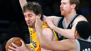Lakers, down to backcourt of last resort, are crushed by Spurs