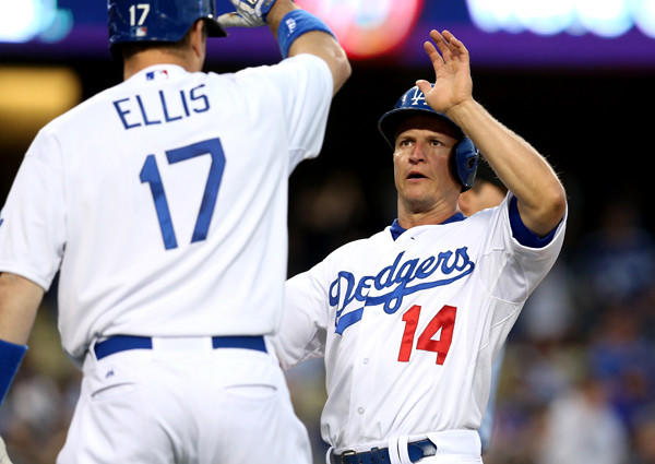 Dodgers second baseman Mark Ellis (14) is congratulated by catcher A.J. Ellis (17) after scoring in the first inning Friday night against the Brewers.