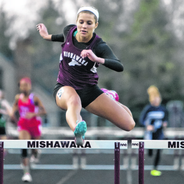 Mishawaka's Ashley Spence competes in the 300 meter hurdles event during the Princess Relays girls track invitational at Mishawaka High School on Friday in Mishawaka.