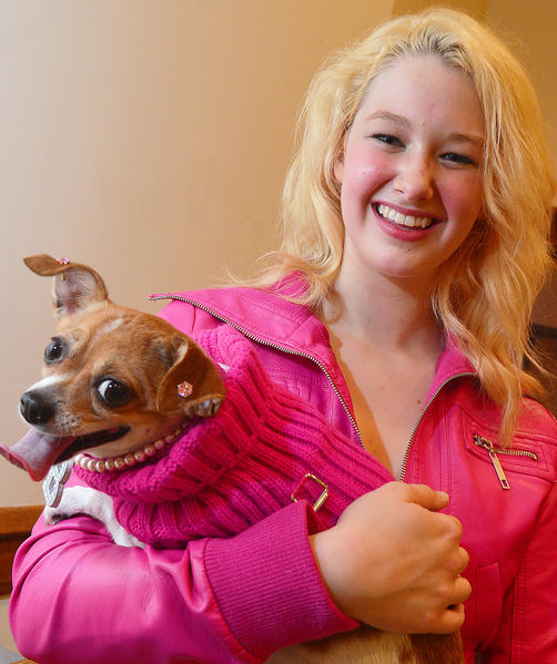 """Leah Harrell plays Elle and Latte plays Bruiser in the Barbara Ingram School for the Arts production of """"Legally Blonde."""""""