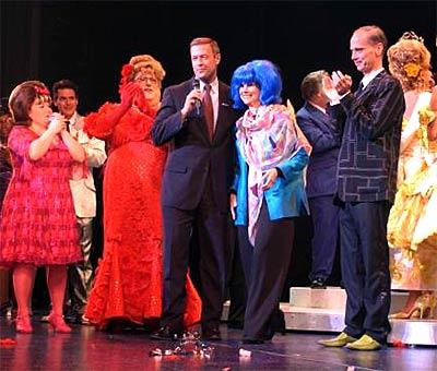 "Mayor Martin O'Malley (center) joins producer Margo Lion, wearing a hon wig, John Waters and the cast of ""Hairspray"" for a curtain call after last night's opening performance."