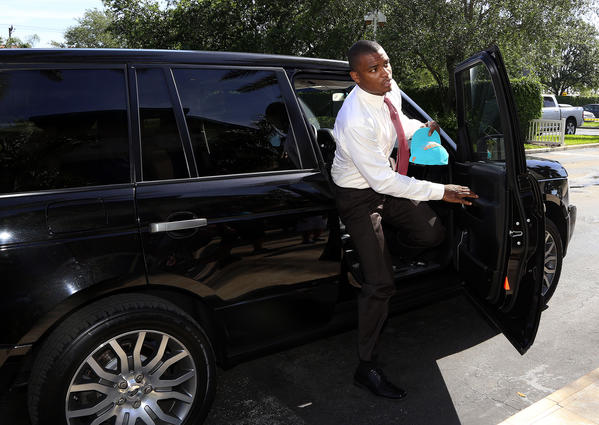 The Miami Dolphins #1 draft pick Dion Jordan arrives at camp to hold his first press conference with South Florida media.