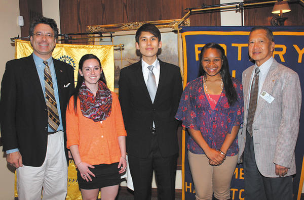 "From left, Magnus Dahlgren, Taylor Coombs, Aaron Anderson, Giselle Garnett and Dr. ""Kit"" Japzon. Dahlgren and Japzon are members of the Rotary Club of Long Meadows and co-chaired the committee."