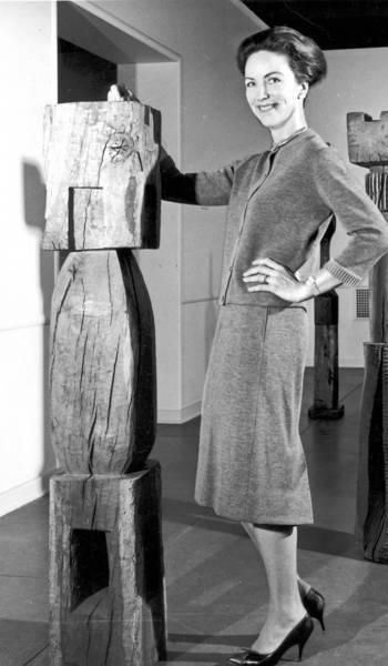 Eudorah Moore in the early 1960s with exhibits at the Pasadena Art Museum.