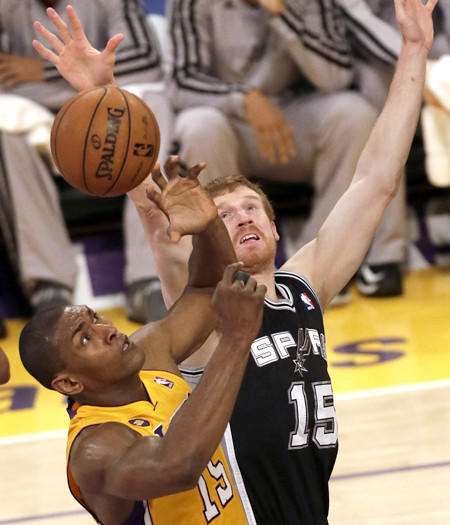 Lakers forward Metta World Peace, battling Spurs forward Matt Bonner for a rebound in Game 3, will join the growing list of injured Lakers expected to miss Game 4 on Sunday.