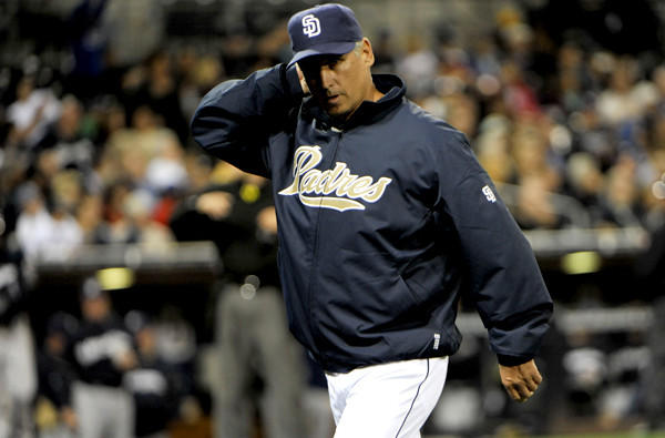 Padres Manager Bud Black walks off the last week after making a pitching change against the Brewers.