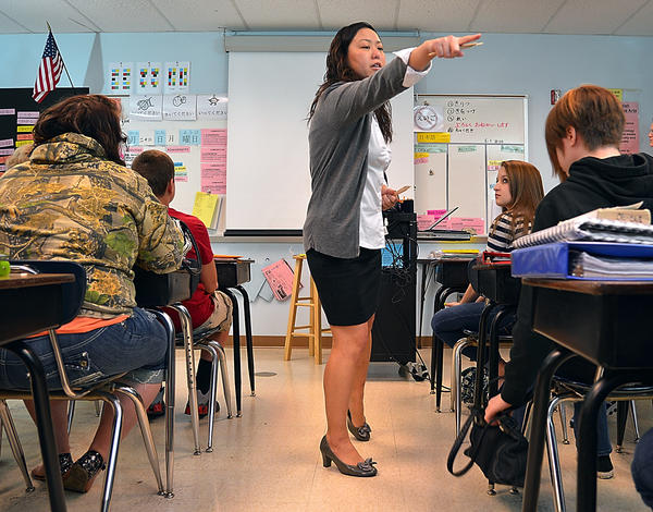 Boonsboro High School language teacher Ayako Shiga instructs her class Monday on a game designed to measure understanding of the Japanese language. She was recently selected Washington County teacher of the year.