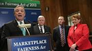 WASHINGTON, DC - APRIL 23: Senate Majority Whip Richard Durbin (D-IL) speaks during a news conference about the Marketplace Fairness Act with Sen. Mike Enzi, Peter Sides of the Robert M. Sides Family Music Center and Sen. Heidi Heitkamp (right) on Capitol Hill.