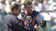 "OAKLAND, Calif. -- Orioles reserve catcher Taylor Teagarden is out likely three to four weeks after taking a foul ball to the tip of his left thumb in the sixth inning of <a href=""http://www.baltimoresun.com/sports/orioles/bal-orioles-beat-athletics-20130427,0,4472692.story"" target=""_blank"">the Orioles' 7-3 win over the Oakland A's on Saturday</a>."