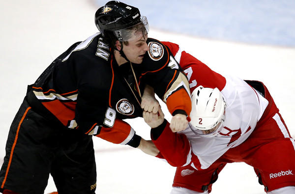 Ducks winger Bobby Ryan squares off with Red Wings defenseman Brendan Smith when the teams last met in March.