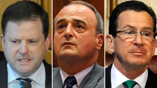 Senate minority leader John McKinney, left, and House minority leader Lawrence Cafero, center, are expected to run for governor against Dannel P. Malloy in 2014.