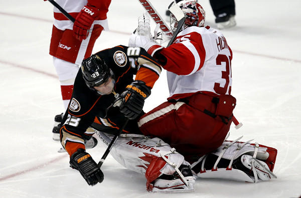 Ducks defenseman Francois Beauchemin collides with Red Wings goalie Jimmy Howard during the third period of a game earlier this season at the Honda Center.