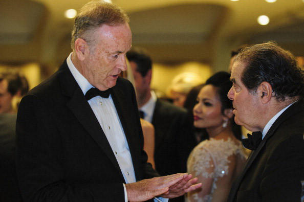 Commentator Bill O'Reilly, left, talks with Supreme Court Justice Antonin Scalia during the White House Correspondents' Association Dinner on April 27.
