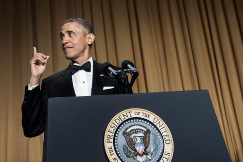 President Obama gives his monologue at the White House correspondents' dinner.