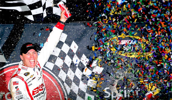 Kevin Harvick celebrates his victory at the NASCAR Sprint Cup Series Toyota Owners 400 at Richmond International Raceway.