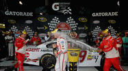 Kevin Harvick sped away on fresh tires to win Sunday night's Toyota Owners 400