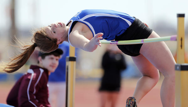 Aberdeen Central's Kelsey Hannigan tries to clear the bar in the girls high jump event Saturday at the Al Sahli Invitational track and field meet at Swisher Field. photo by john davis taken 4/27/2013