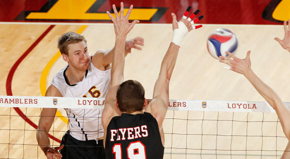 Loyola's Joe Smalzer in regular-season action against Lewis.  (Loyola Athletics)