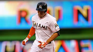 For a minute Saturday night it seemed Giancarlo Stanton's first homer of 2013 also was the longest ever hit at Marlins Park. The team gave an estimated distance of 472 feet on the bash to left, which cleared the auxiliary scoreboard.