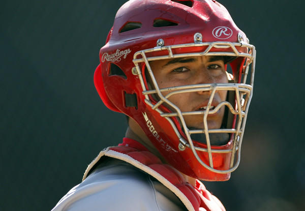 Mater Dei catcher Jeremy Martinez looks for a coaches signal during a game against Servite earlier this month in Anaheim.