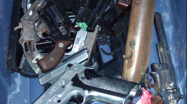 A photo of seized weapons at the Robbins Police Department.