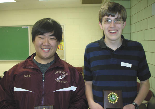 Jim Park, left, a junior at Jefferson High School in Shenandoah Junction, W.Va., and Robert Zollinger, a senior at Martinsburg (W.Va.) High School, placed among the top 15 students in grades 10 to 12 at the 39th annual West Virginia State Mathematics Field Day. They earned the right Saturday to compete in a national mathematics competition in June.