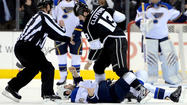 The Kings won all three of their games this season to extend their winning streak against the Blues to eight, including a sweep of their second-round playoff series last spring. The Kings recorded a 4-1 victory on Feb. 11 at St. Louis, a 6-4 victory at Staples Center on March 5, and a 4-2 decision on March 28 at St. Louis. The Feb. 11 triumph started an 11-3 surge for the Kings and turned things around for them after a dismal 3-5-2 start. Jeff Carter led both teams with three goals in the three games.