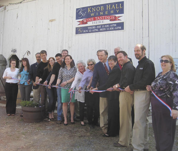 Representatives from area wineries, and government and tourism agencies helped cut the ribbon April 16 on the Antietam Highlands Wine Trail during a celebration at Knob Hall Winery in Clear Spring.