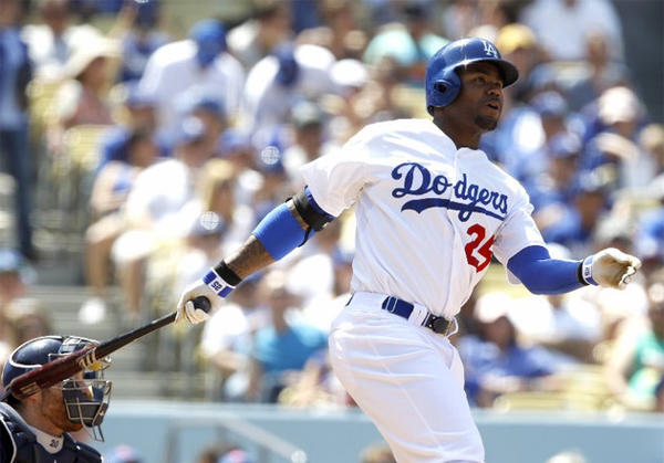 Dodgers outfielder Carl Crawford is batting .409 with three home runs and four stolen bases in 12 games at Dodger Stadium this season.