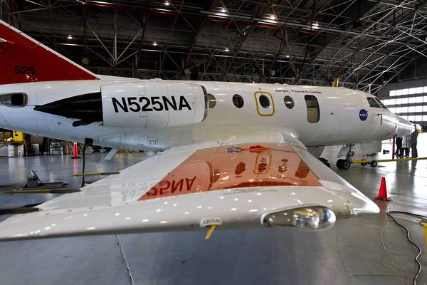 NASA Langley's HU-25C Guardian jet used to record the emissions during the biofuel testing.