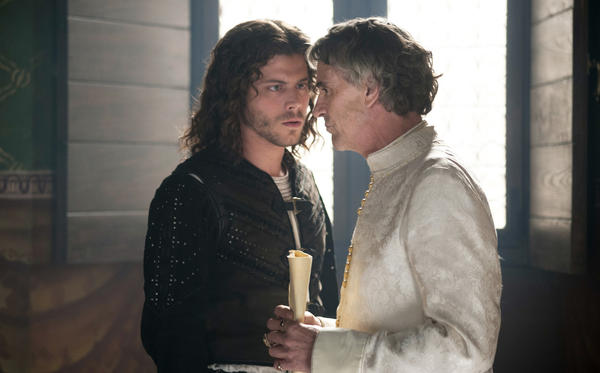 "Cesare Borgia (Francois Arnaud, left) takes bold moves free of his father, Rodrigo (Jeremy Irons) in ""The Borgias."""