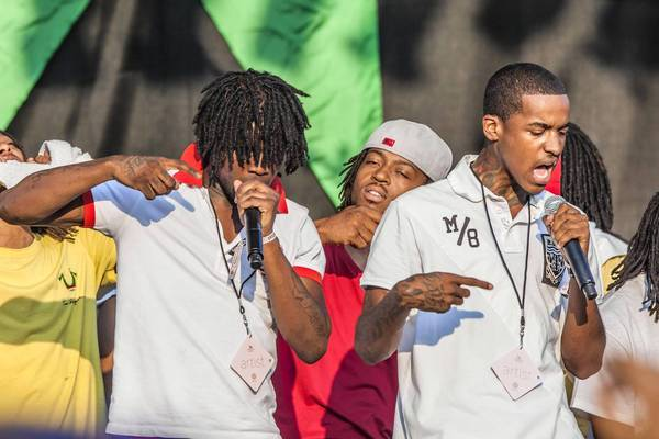 Lil Reese, right, performs with Chief Keef at the 2012 Pitchfork Music Festival in Chicago's Union Park.