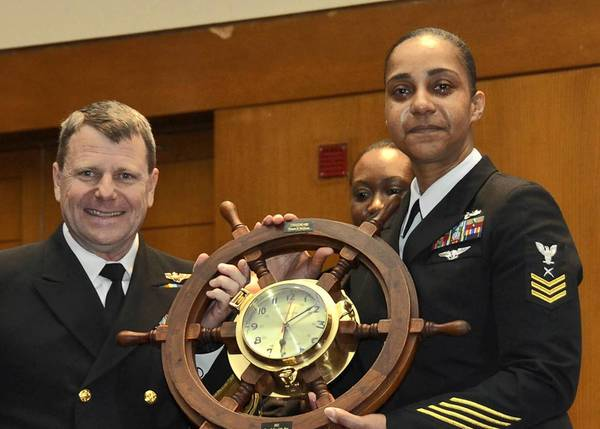 Harvey native Shanon McQueen, right, was named the 2012 U.S. Navy Shore Sailor of the Year.